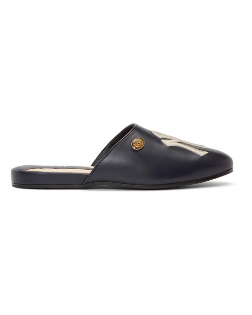 00f7013be Gucci - Blue Navy Ny Yankees Edition Flamel Patch Slippers for Men - Lyst  ...