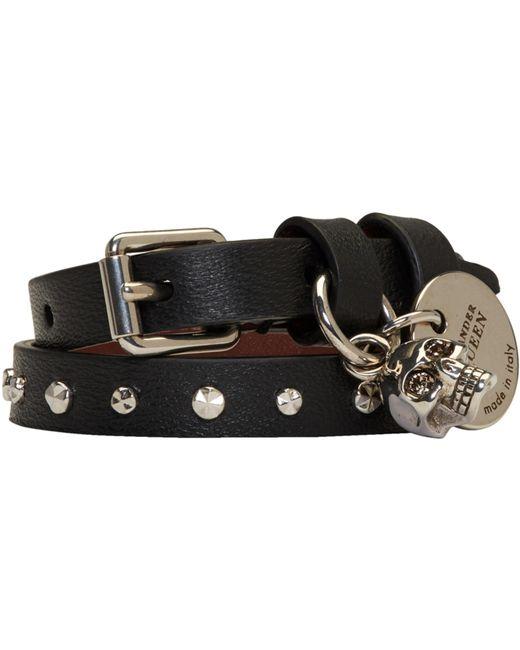 Alexander McQueen | Black And Silver Studded Skull Double Wrap Bracelet | Lyst