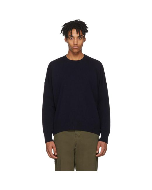 AMI - Blue Navy Oversized Sweater for Men - Lyst
