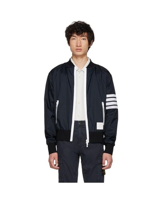 Grey Four Bar Light Weight Bomber Jacket Thom Browne Buy Cheap Low Price Online For Sale Outlet Store Sale Online EUdTzk0Wx