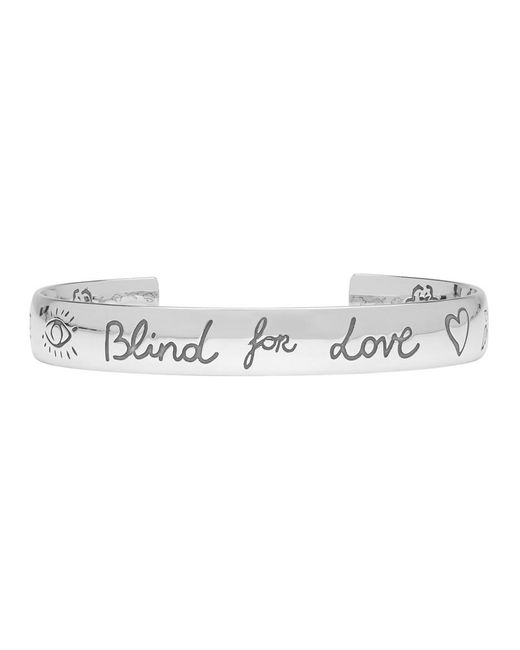 Gucci - Metallic Silver Blind For Love Bracelet - Lyst