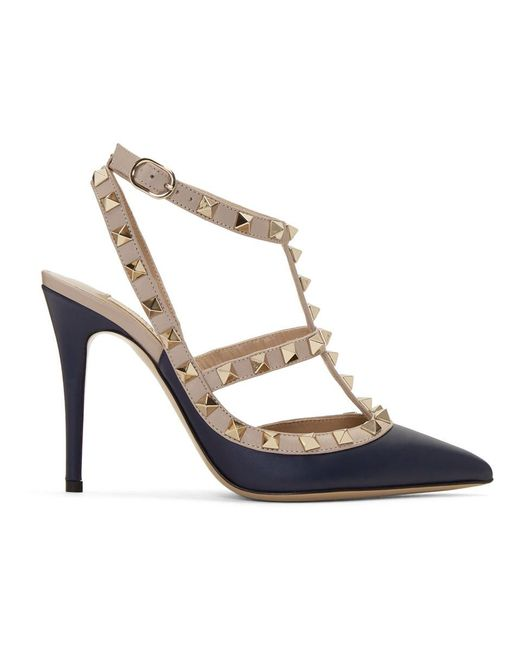 Valentino - Blue Navy And Pink Garavani Rockstud Cage Heels - Lyst