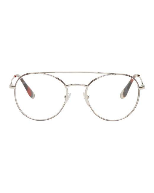 Prada - Metallic Silver Double Bridge Glasses - Lyst