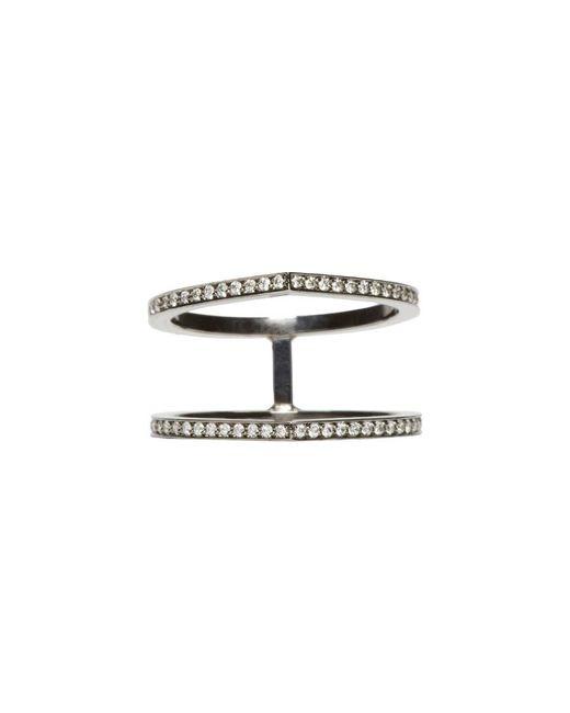 Repossi - Metallic Black Gold Pave Diamond Double Antifer Ring - Lyst