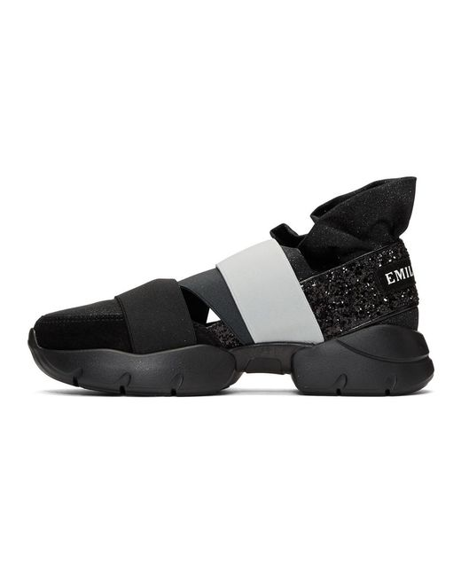 Emilio Pucci & Grey 'Pucci at Night' Glitter Ruffle Elastic Slip-On Sneakers U5agEoVJ2I