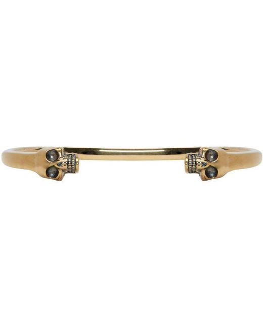 Alexander McQueen | Metallic Gold Twin Skull Bracelet for Men | Lyst