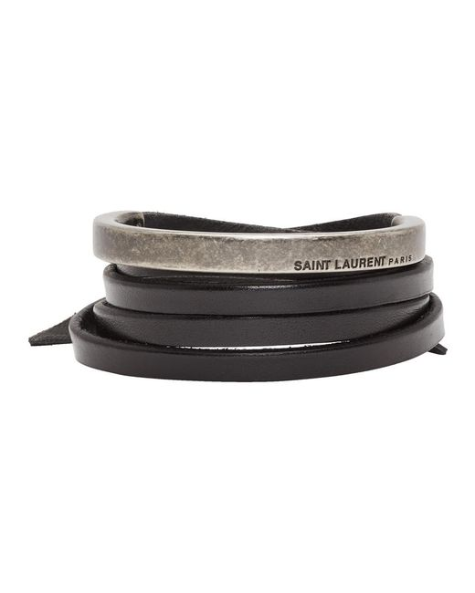 Saint Laurent - Black Leather Wrap Bracelet - Lyst
