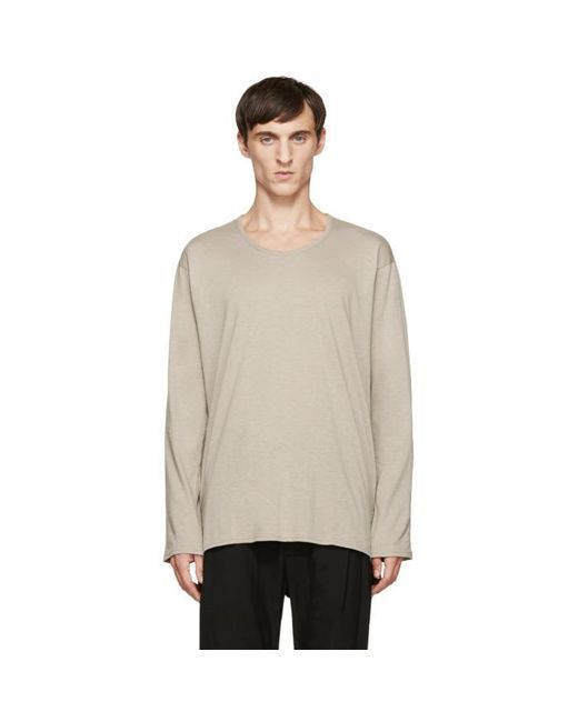 Nude:mm | Natural Beige Long Sleeve T-shirt for Men | Lyst