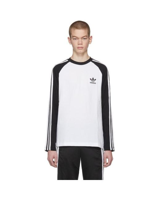 Adidas Originals Black And White Long Sleeve 3 Stripes T