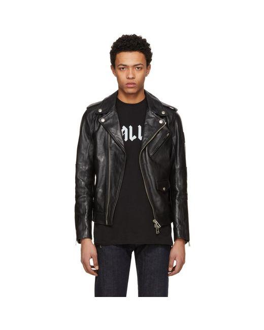 Belstaff - Black Leather Sidmouth Biker Jacket for Men - Lyst