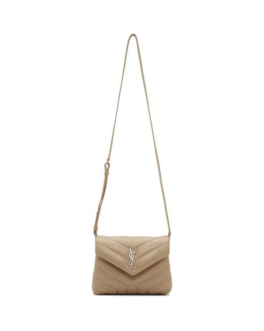 Women's Natural Beige Quilted Toy Loulou Strap Bag by Saint Laurent
