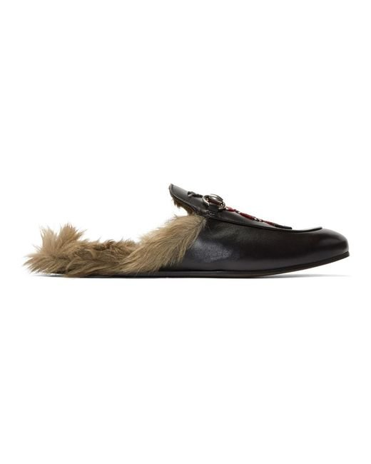 Gucci - Black Snake Fur Princetown Slippers for Men - Lyst