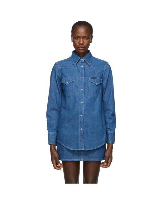91fbfa5d3ba Lyst - Calvin Klein Blue Denim Western Shirt in Blue