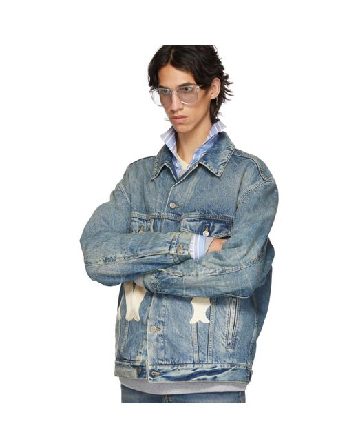 fb98fc144f1 ... Gucci - Blue Ny Yankees Edition Patch Denim Jacket for Men - Lyst ...