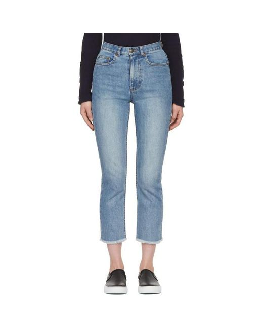 A.P.C.   Blue Indigo Standard A Frayed Jeans   Lyst