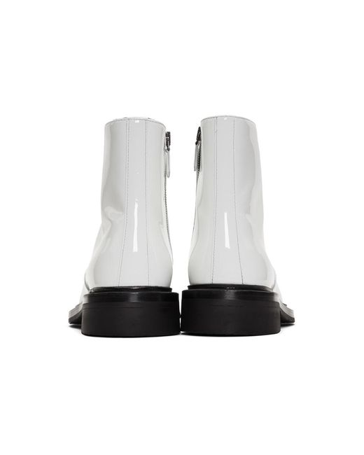 a9f31576c14 Prada White Patent Zip Boots in White for Men - Lyst