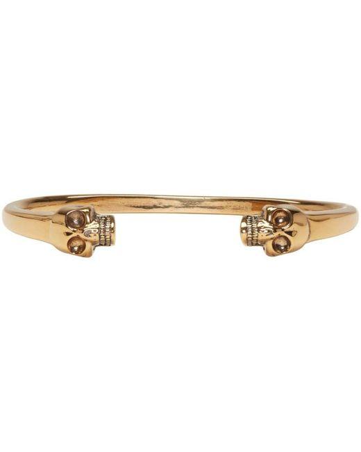 Alexander McQueen | Metallic Gold Twin Skull Cuff | Lyst