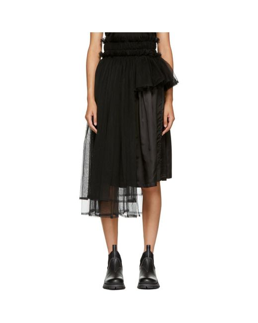 Noir Kei Ninomiya - Black Side Tulle Skirt - Lyst
