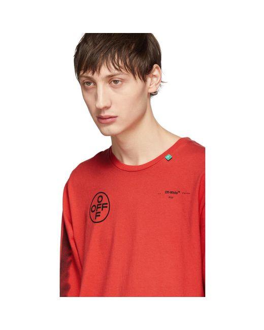 47565977 Off-White c/o Virgil Abloh Long-sleeve Logo Print T-shirt in Red for ...