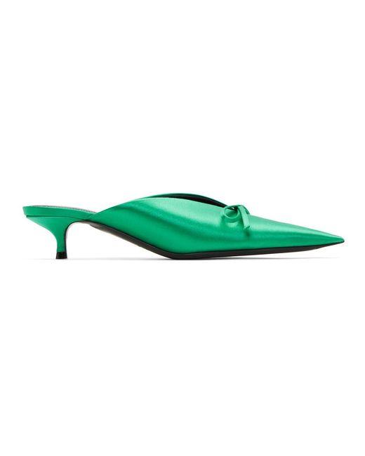 437532d6c9d8 Lyst - Balenciaga Green Satin Knife Mules in Green - Save 8%