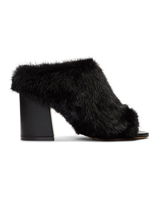 Givenchy - Black Fur Paris Mules - Lyst