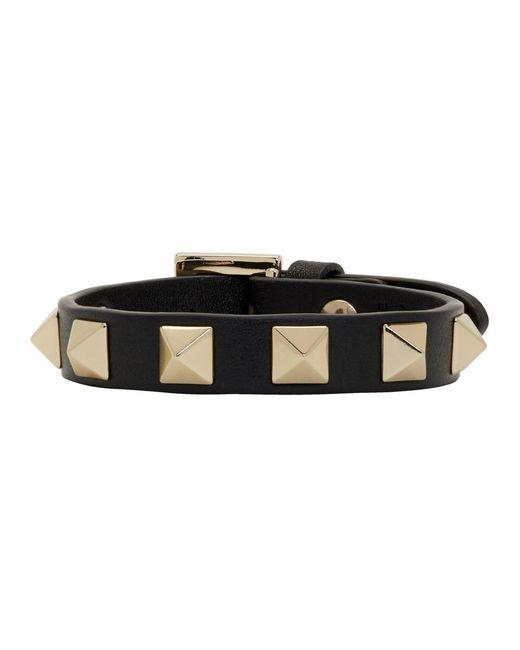 Valentino - Black Garavani Single Rockstud Bracelet - Lyst
