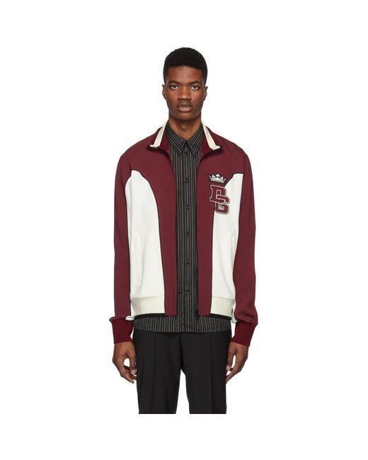 Dolce & Gabbana - White And Burgundy Logo Track Jacket for Men - Lyst