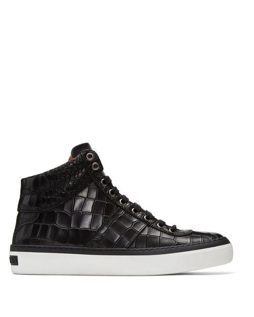 Jimmy Choo - Black Croc-embossed Belgravia High-top Sneakers for Men - Lyst