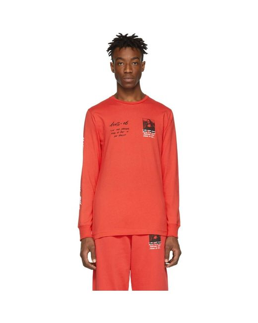 6638a5523271 Off-White c o Virgil Abloh Red Monalisa Long Sleeve T-shirt in Red ...