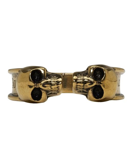 Alexander McQueen - Metallic Gold Thin Twin Skull Ring for Men - Lyst