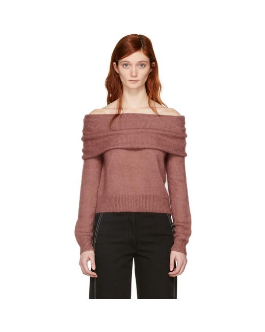 Rag & Bone - Pink Mini Mohair Off-the-shoulder Knit Sweater - Lyst