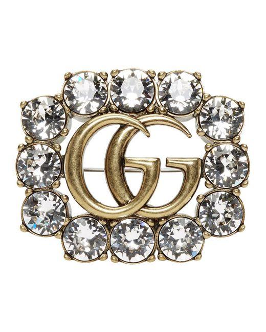 Gucci Multicolor Gold Crystal GG Brooch
