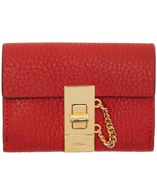 Chloé | Red Mini Drew Wallet | Lyst