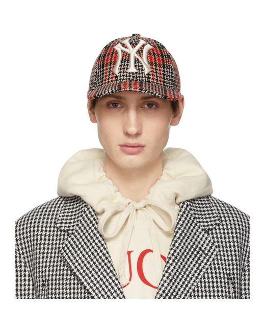 2d0994c860c Gucci - Red Multicolor Ny Yankees Edition Plaid Patch Cap for Men - Lyst ...