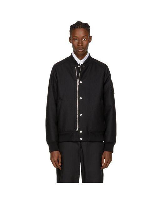Moncler | Black Down Ica Bomber Jacket for Men | Lyst
