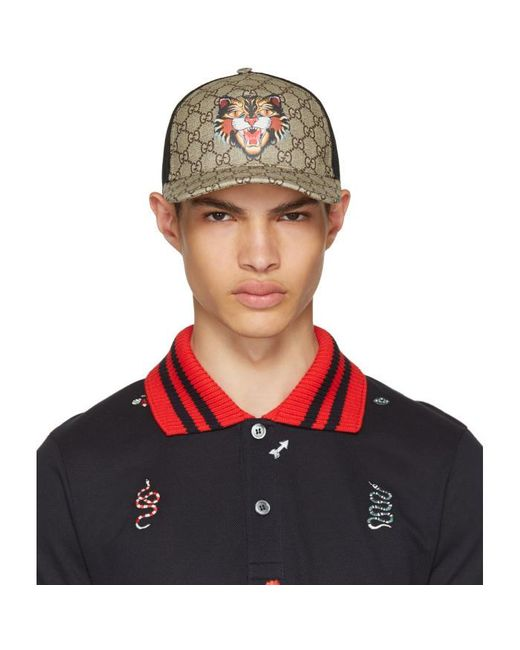 Gucci | Brown Angry Cat Gg Supreme Baseball Cap for Men | Lyst