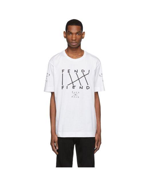 34814e830c2 Fendi White Fiend T-shirt in White for Men - Lyst