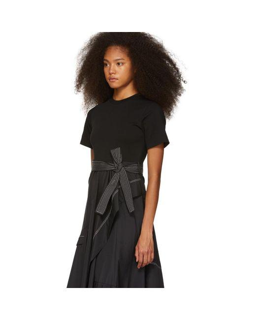 221ada68bba1ae ... 3.1 Phillip Lim - Black Poplin Combo T-shirt Dress - Lyst ...