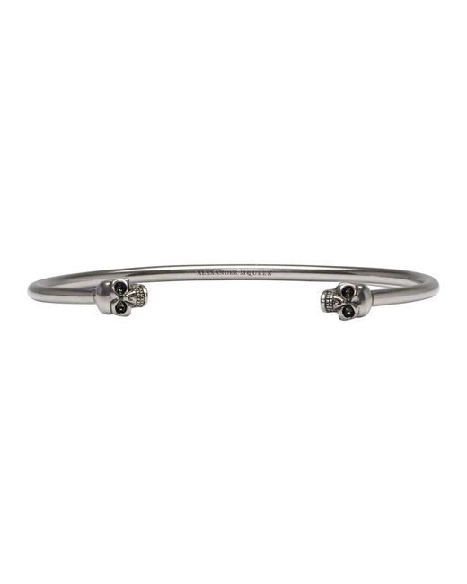 Alexander McQueen - Metallic Silver Thin Twin Skull Bracelet for Men - Lyst