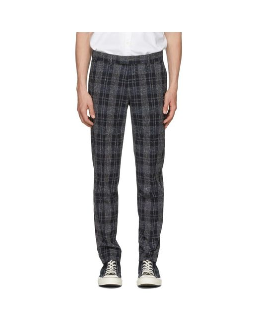 Tiger Of Sweden - Gray Navy And Grey Gordon Check Trousers for Men - Lyst