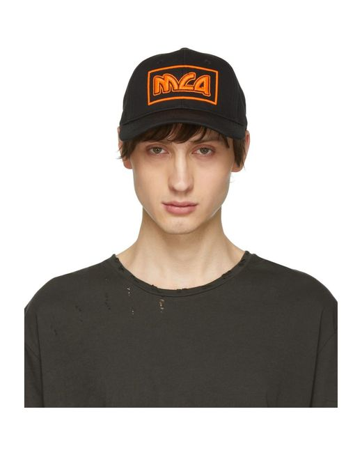 McQ Alexander McQueen - Black And Orange Embroidered Metal Logo Cap for Men - Lyst