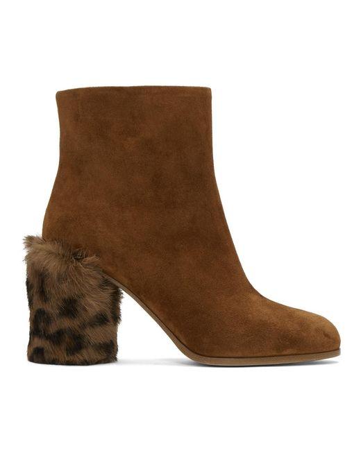 Miu Miu - Brown Tan Leopard Fur Heel Boots - Lyst