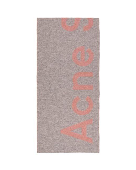 Acne - Gray Grey Toronty Logo Scarf - Lyst