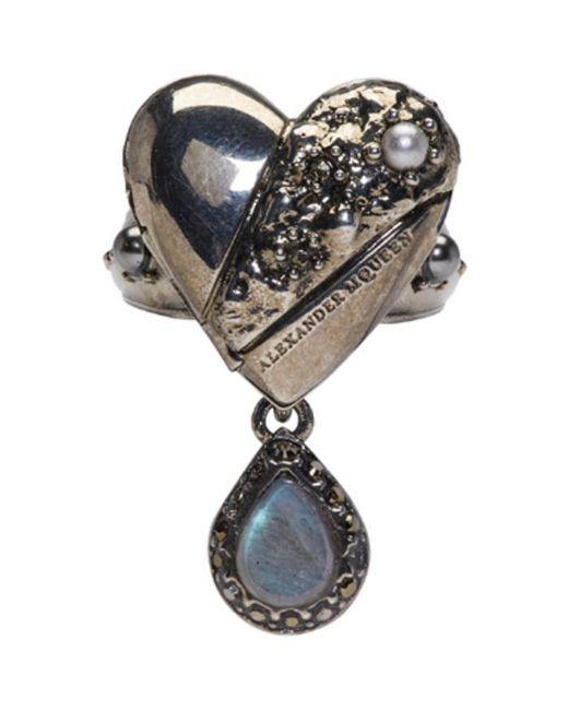 Alexander McQueen | Metallic Silver Heart Locket Ring | Lyst
