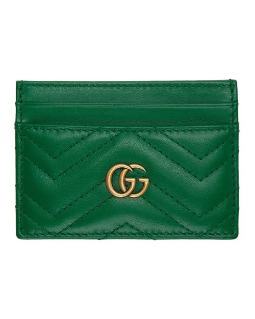 f4c77a9a6e35 Gucci Green Quilted GG Marmont Card Holder in Green - Lyst
