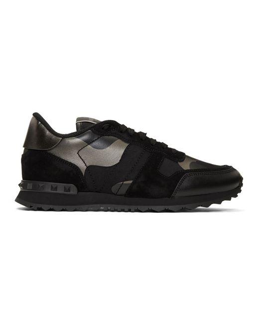 Baskets noires et gris acier Rockrunner Garavani Valentino pour homme en coloris Black