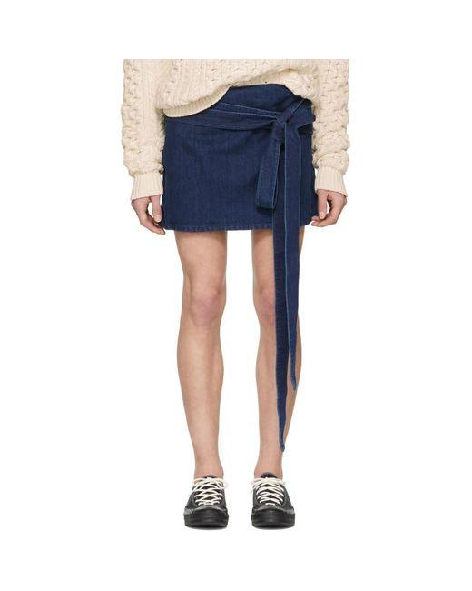 J.W. Anderson - Blue Indigo Denim Wrap Miniskirt - Lyst