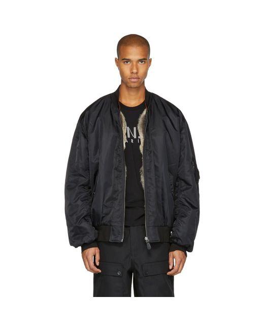 Lyst Yves Salomon Black Fur Lined Bomber Jacket In Black