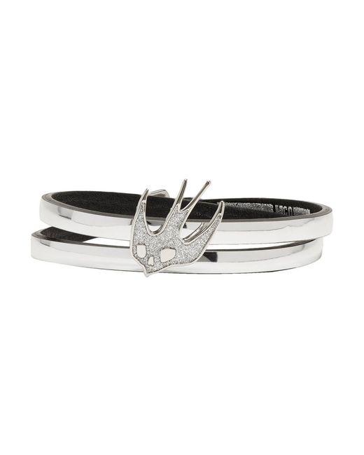 McQ Alexander McQueen - Metallic Silver Swallow Mini Wrap Bracelet - Lyst