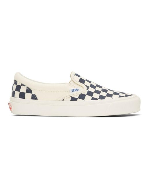 5e3a6919b7f3 Vans - Blue And White Og Checkerboard Classic Slip-on Sneakers for Men -  Lyst ...